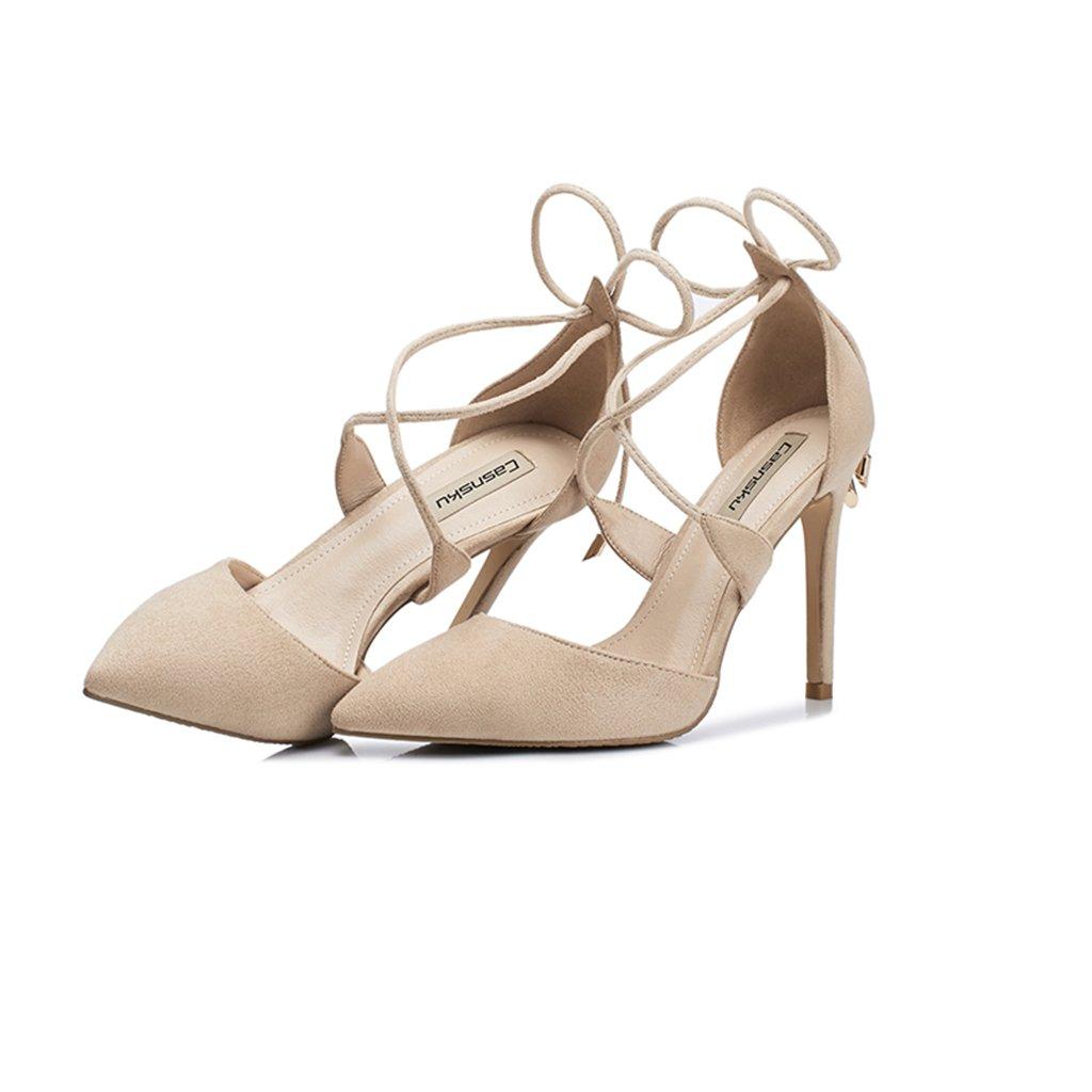 Li Ye Feng Shop Nude High Heels feine Ferse Wildleder High Heels Cross Riemchen Heels flache spitzen High Heels Damen Sandalen Sommer und sexy High Heels (Color : Nude color-85cm, Size : 33)  33|Nude Color-85cm