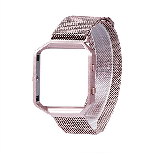 For Fitbit Blaze Band Small Pink Rose Gold, Wearlizer Milanese Loop Watch Band Replacement Stainless Steel Bracelet Strap With Metal Frame for Fitbit Blaze, Christmas Gift - Rose Gold Pink - Blaze Rose