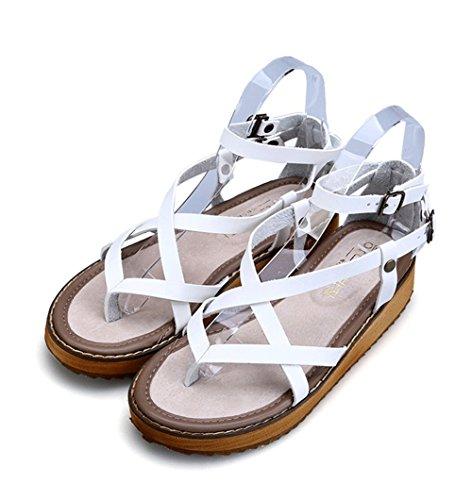 45 White Abierta Zapatos Punta Cuero Señoras Mujer Tobillo Negro 35 Plano Tamaño Comodidad Sandalias Nvxie Correa Z6Bwx8qH