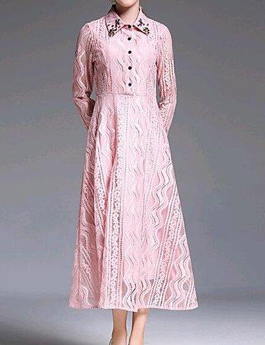 Vestido La Vestido Y Delgada Rubor Solid JIALELE Larga Mujer De Manga Rosa De De Inelástica Fiesta Collar De Fiesta La Encaje Mujer Camisa XqwH0dwU