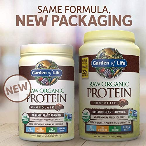 Garden of Life Raw Organic Protein Chocolate Powder, 20 Servings *Packaging May Vary* Certified Vegan, Gluten Free, Organic, Non-GMO, Plant Based Sugar Free Protein Shake with Probiotics & Enzymes 3