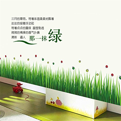 Mr.S Shop Ladybug Cornfield Green Grass Stickers Wall Sticker Home Decor DIY Adhesive Art Mural Picture Poster Removable Vinyl Ladybug Wall Murals