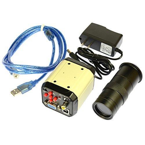 2.0MP HD Digital Industrial Lab Microscope Camera VGA USB AV TV Output 100X Zoom C-Mount Lens ()