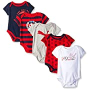 PUMA Baby Boys' 5 Pack Bodysuit Pack, Navy, 0/3M