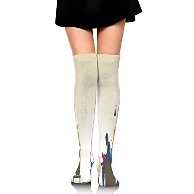 Hizhogqul Colorful Art Of An Human Being In Normal City Life Crazy Cat Lady Women's Fashion Over The Knee High Socks (60cm)