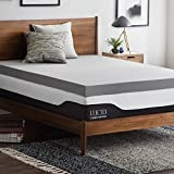 Lucid 4 Inch Bamboo Charcoal Memory Foam Mattress Topper - Full