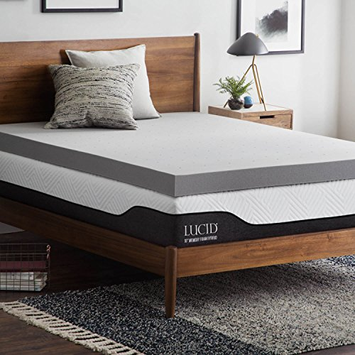(LUCID 4 Inch Bamboo Charcoal Memory Foam Mattress Topper - Queen)