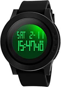 FANMIS Men's Digital Sports Wrist Watch LED Screen Large Face Electronics Military Watches Waterproof Alarm Stopwatch Back Light Outdoor Casual Black Watch