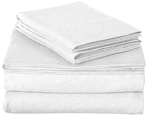 ROYAL LUXURY 100% Cotton Jersey Knit QUEEN Sheet Set, WHITE