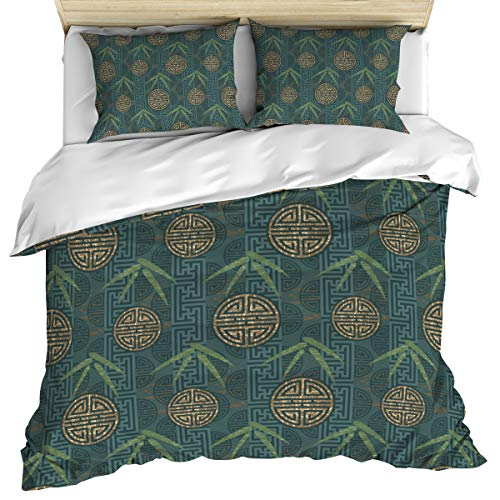3 Piece Bedding Set Comforter/Quilt Cover Set Full Size, Asian Composition with Oriental Motifs Leaves Eastern Elements, Duvet Cover Set with 2 Pillow Shams for Kids/Teens/Adults/Toddler