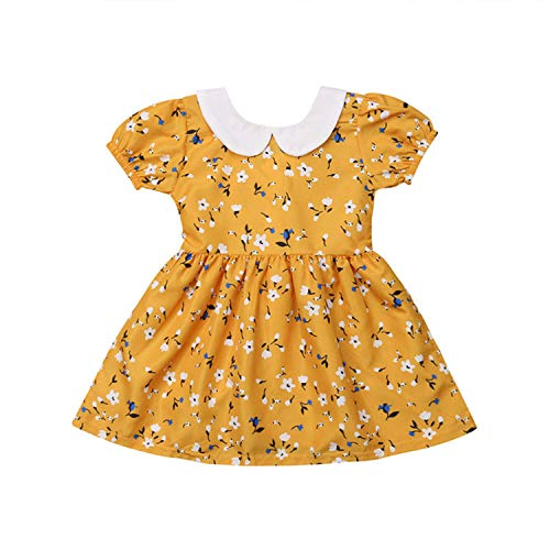 Infant Baby Girl Dress Toddler Kid Clothes Pageant Party Floral Outfit Princess Tutu Dress Children Clothing Yellow 18M