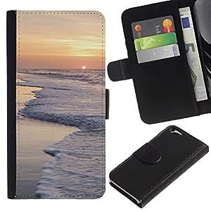 EJOY---La carpeta del tirón la caja de cuero de alta calidad de la PU Caso protector / Apple Iphone 6 / --Amanecer Sea Shore Olas de espuma