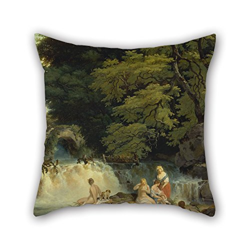 Loveloveu Oil Painting Francis Wheatley - The Salmon Swiftly, Leixlip Pillowcover ,best For Bedding,him,divan,dinning Room,christmas,club 20 X 20 Inches / 50 By 50 Cm(ringer Sides)
