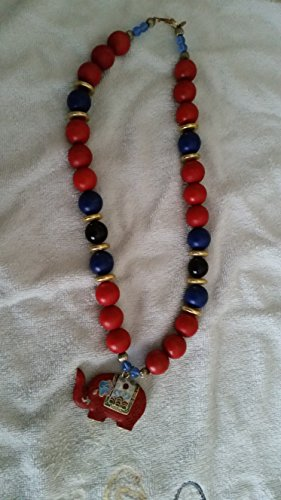 Carolyn Tanner Vintage Large Chunky Wooden Brass & Plastic Red & Navy Beads Cloisonne Elephant Necklace (Marked)
