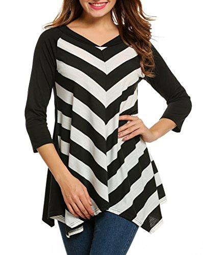 [Zeagoo Women 3/4 Sleeve V Neck Striped Casual Zig-Zag Pattern Tunic Top] (Long Sleeve Print Tunic)
