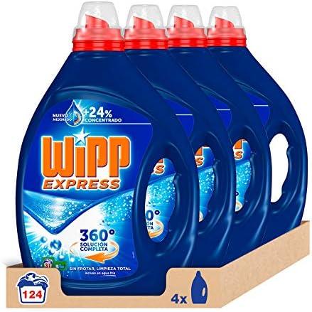 WiPP Express Detergente Liquido, 31 Dosis, Paquete de 4 (Total 124 Lavados)