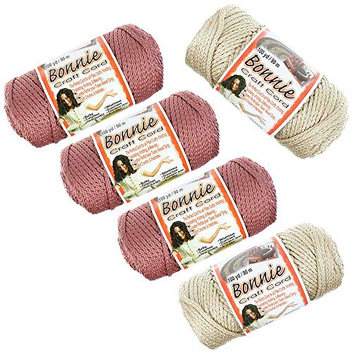Bonnie Macrame Cord - 5 Pack, 4 MM, Rose and Pearl - 100 Yard Length ()