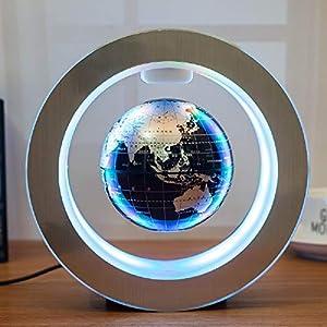 YLOVOW Levitación magnética Globo Flotante del Mapa del Mundo con la Base iluminada, Bola planetaria giratoria Anti Gravedad LED lámpara de luz Regalos educativos para niños