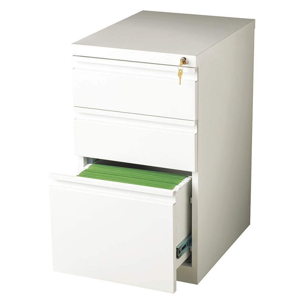 Hirsh Industries 20 Deep Box-Box-File Mobile Pedestal in White