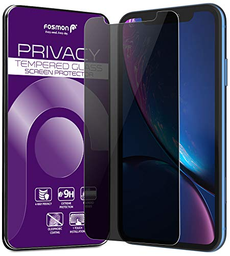 Glass Tinted Tempered (iPhone XR Screen Protector, Fosmon [Touch] Privacy 2-Way Tempered Glass Anti-Spy Tinted Shatter Proof 9H Hardness Glass Screen Shield for Apple iPhone XR, 6.1