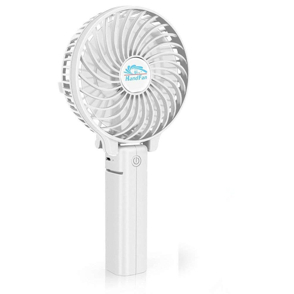 Happy-top Handfan Rechargeable Fans Portable Handheld Mini Fan Battery Operated Cooling Fan Electric Personal Fans Foldable Fans for Home Office and Travel (White)