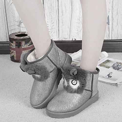 Transer® Damen Stiefel & Stiefeletten Herbst/Winter Warm Schuh Sämischleder+Gummi (Bitte achten Sie auf die Größentabelle. Bitte eine Nummer größer bestellen. Vielen Dank!) Silber