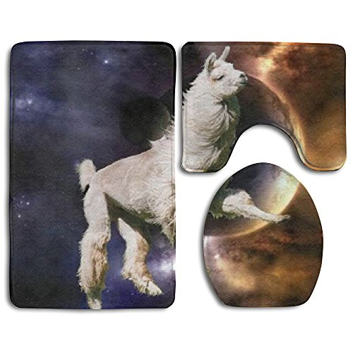 Home Essential Bath Mat Bathroom Non-Slip Pedestal Rug + Lid Toilet Cover + Bath Mat Set Universe Alpaca Party Supplies Give Your Family The Best Protection