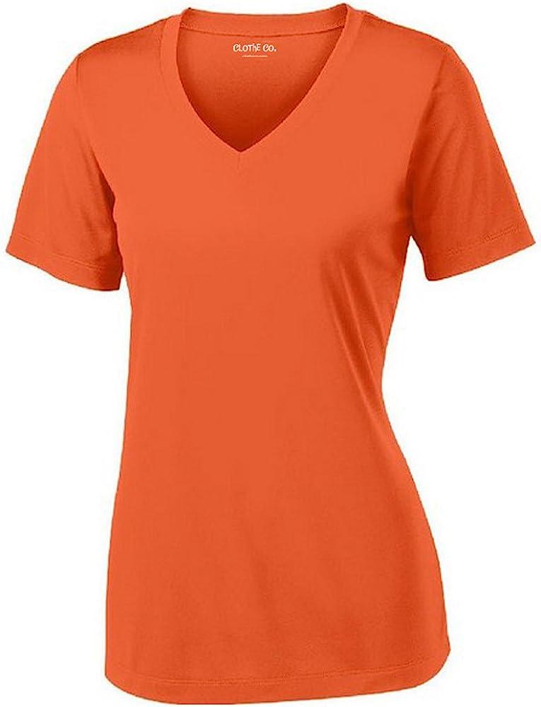 Clothe Co. Ladies Short Sleeve V-Neck Moisture Wicking Athletic Shirt