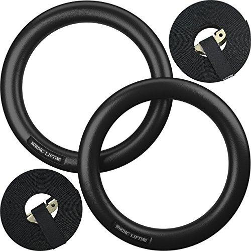 Nordic Lifting Gymnastic Rings and Straps - Heavy Duty for Gymnastics, Crossfit, Strength & Fitness Training - Best Olympic Home Gym Set - PC Plastic is Stronger Than Wood