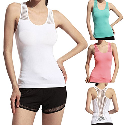 Hrph Women Yoga Shirt Tank Tops Hollow Back Gym Jogging Elastic Vest Female Running Fitness Sports Top Rosado