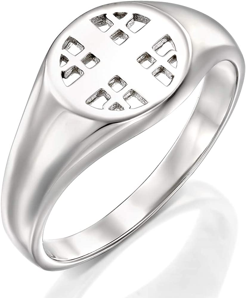 HalleluYAH Jerusalem Cross Ring - Silver Rhodium Pl 925 Our shop most popular Sterling Bargain