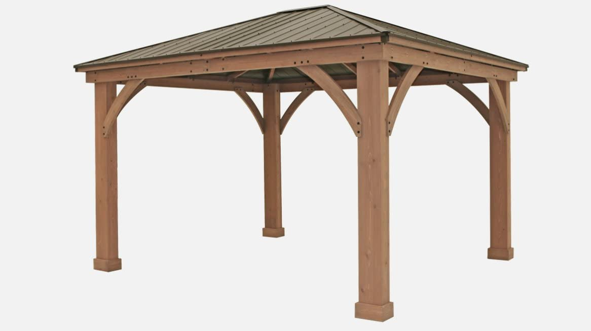 FSC Certified Cedar Wood Aluminum Roof 14 x 12 Outdoor Pavillion Gazebo