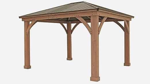 FSC Certified Cedar Wood Aluminum Roof 14u0027 X 12u0027 Outdoor Pavillion Gazebo