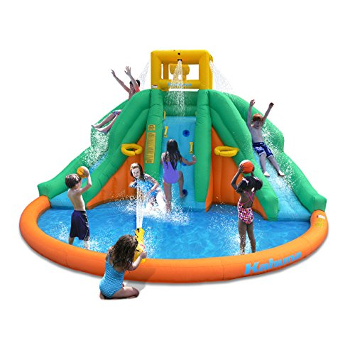 Magic Time Twin Peaks Kids Inflatable Splash Pool Backyard Water Slide Park (Backyard Waterslide)