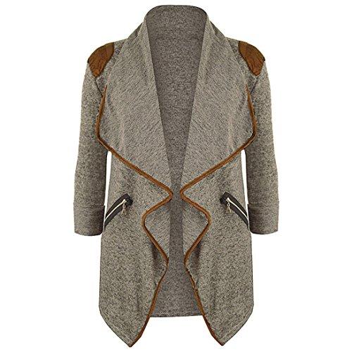 Plus Size Cardigan, Litetao Women Fall Irregular Knitted Outwear Long Sleeve Jacket (M, Khaki)