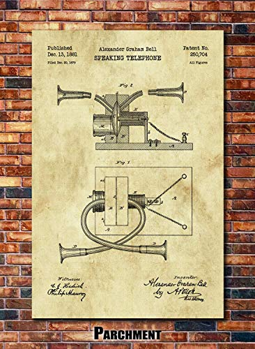 (Alexander Graham Bell Telephone Patent Print Art 1881 (multiples sizes and colors available))