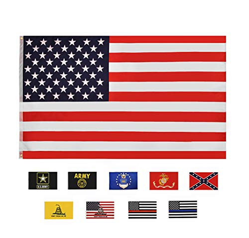 RainRoad American Flag 3x5 ft, Printed Polyester Double-Sided US Military Banner | for Inside/Outside Use | UV Protected, Long Lasting | Brass Grommets for Easy Display | U.S. Flag(us Flag)
