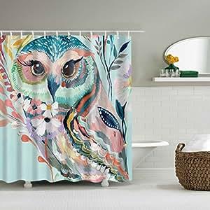 Puhoon Fabric Shower Curtain Decor By, Custom Watercolor Owl Decor  Waterproof Fabric Shower Curtain Home