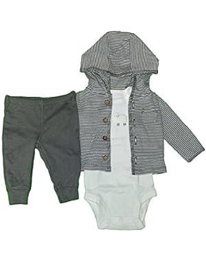 Carter's Baby Boys 3-Piece Short-Sleeve Safari Bodysuit, Little Lamb Striped, Newborn