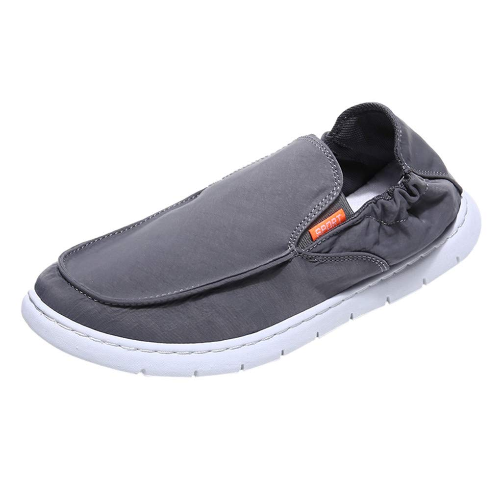 〓COOlCCI〓Men's Loafers & Slip-Ons, Mens Deck Shoes Slip on Casual Summer Canvas Flat Shoe Loafers,Fashion Sneakers Gray by COOlCCI_Men Shoes