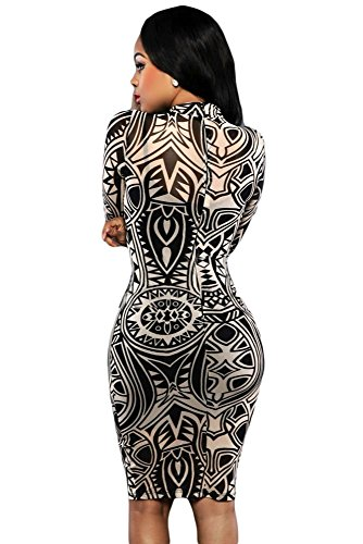 New Damen schwarz amp; weiß Tribal Print Midi Kleid Club Summer ...