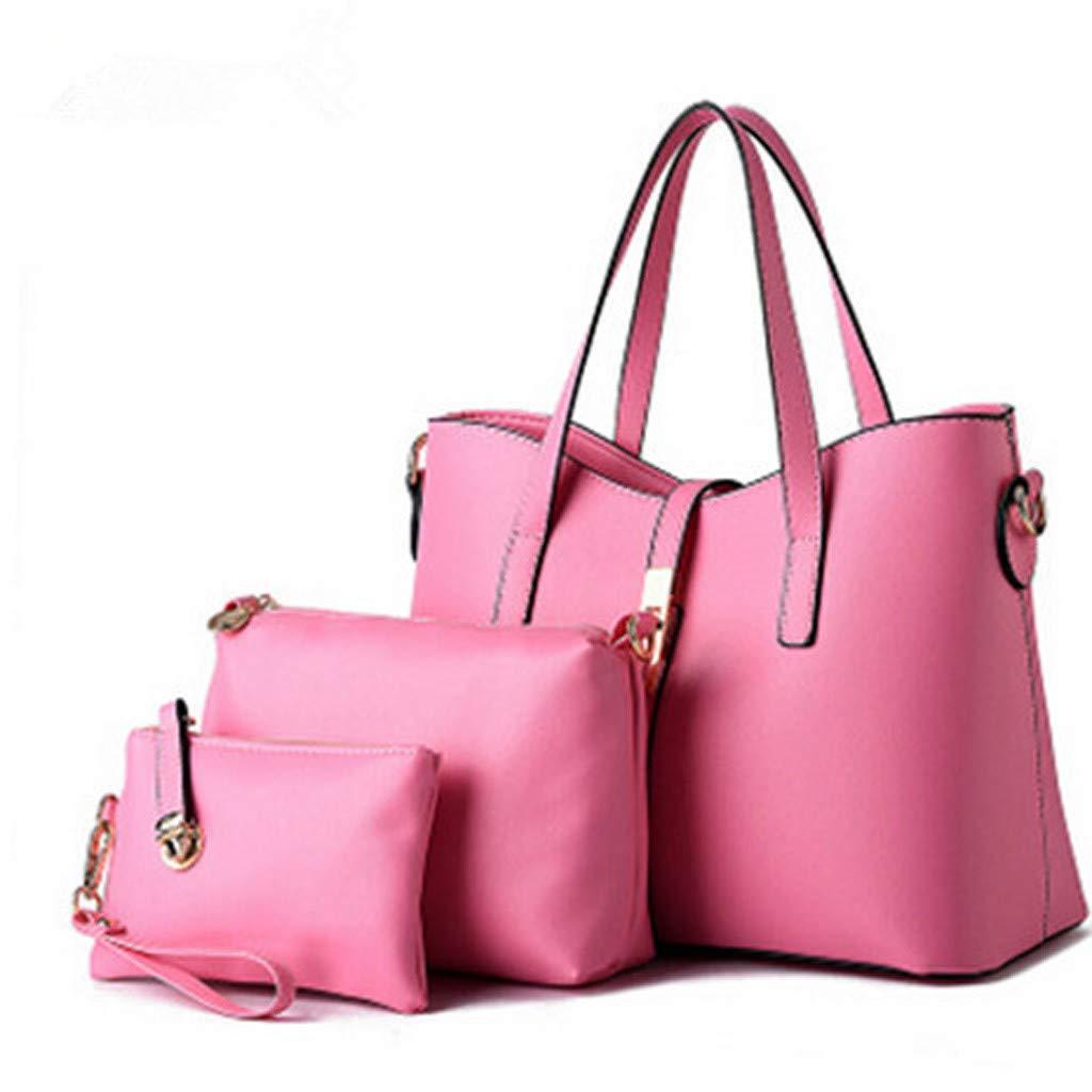 3Pcs Fashion Wild Bags Set Women Pattern Solid Leisure Fashion Handbag+Messenger Bags+Wallets Pink by HunYUN