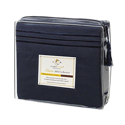 Clara Clark Premier 1800 Series 4pc Bed Sheet Set - Queen, Navy Blue, Hypoallergenic, Deep Pocket