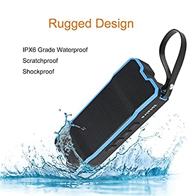 Portable IPX6 Waterproof Bluetooth Speakers 4.1 with 12-Hour Playtime, Deep bass and Loud Stereo Sound, Rechargeable NFC Wireless Outdoor Speaker with Aux and SD Card Slot