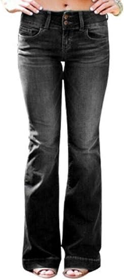 FRPE Women Casual Cotton Mid Waist Stretchy Bell Bottom Denim Jeans