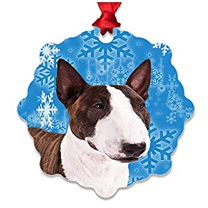 mmandiDESIGNS Dogs Christmas Tree Stocking Metal Ornaments Printed on Both Sides an Image of Your Favorite Family Pet Gift for Dog Mom Dad Owner (Bull Terrier) 34