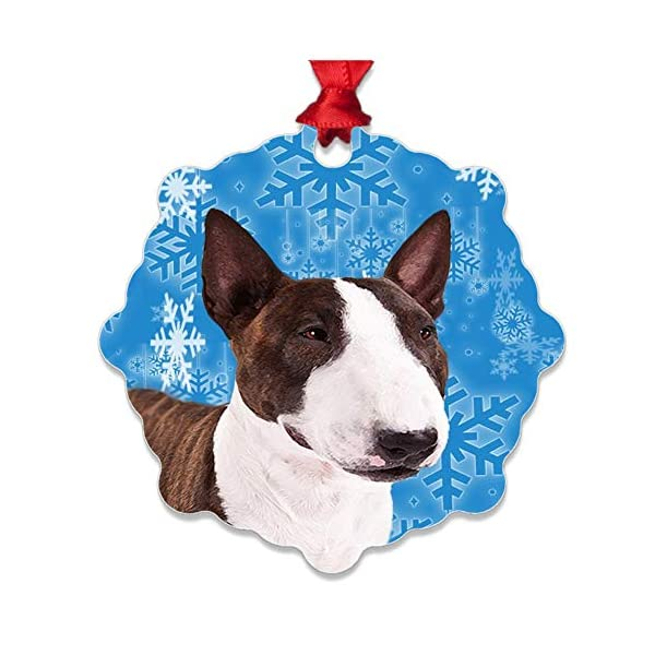 mmandiDESIGNS Dogs Christmas Tree Stocking Metal Ornaments Printed on Both Sides an Image of Your Favorite Family Pet Gift for Dog Mom Dad Owner (Bull Terrier) 1