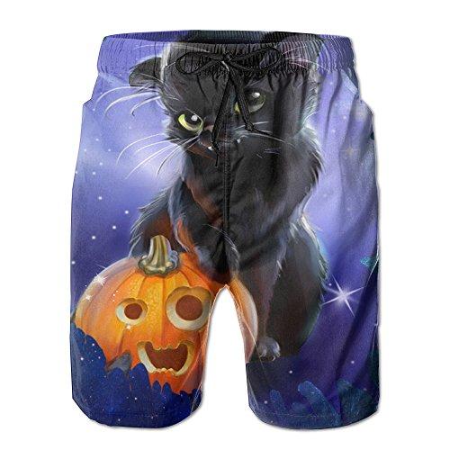 Boy Quick Dry Watercolor Galaxy Halloween Cat Beach Shorts Swim Trunks Surf Board Shorts (Les Activites De L'halloween)