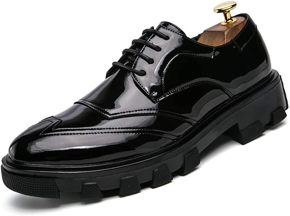 Gobling Mens Oxfords Patent Leather Dress Shoes Thick Bottom Casual Lace Up Pointed Toe Party Shoes US M Color : Black, Size : 7.5 D