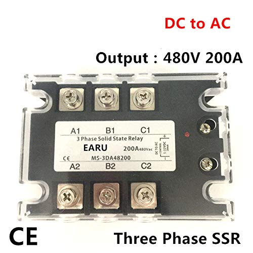 TSR-200DA SSR-200DA Three Phase Solid State Relay DC 5-32V Input Control AC 90~480V Output Load 200A 3 Phase SSR Power DA48200 by DIYElectronic